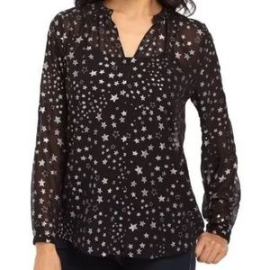 VINCE CAMUTO Black Silver Floating Star Blouse LG